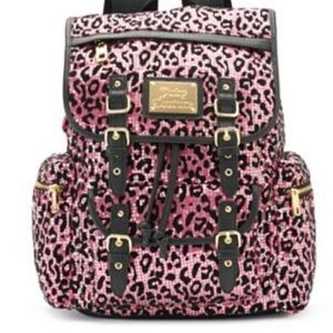 Juicy Couture Leopard print backpack black pink
